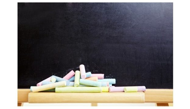 Blackboard with colored chalk