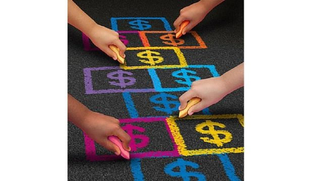 Hop Scotch Board with Colored Chaulk Dollar Signs