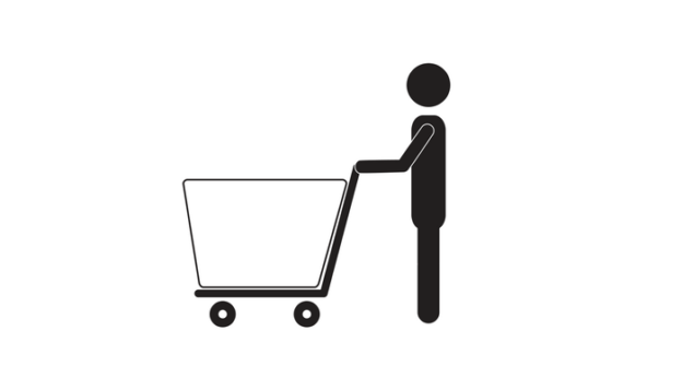 Pictogram of person with shopping cart (black and white)